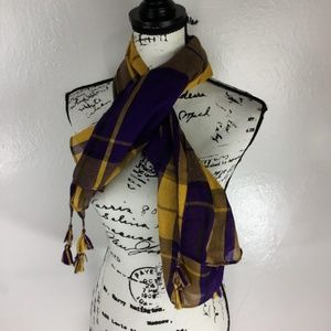 Women's Plaid Rectangular Scarf Tassel Wrap Shawl